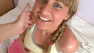 Blue-eyed teen fucked well