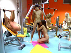 wild teen whore gets group fuck in the gym