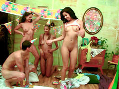 skinny dark hair teen strip on party