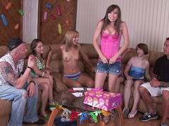 19 y.o., nineteen years old amateur gets group fuck on party