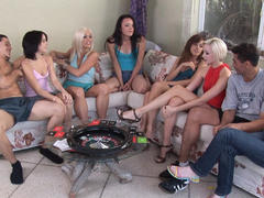 SIX teen girls sharing 2 cocks