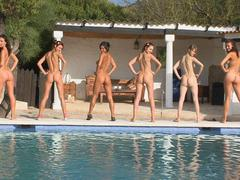 sexy lesbian getting group sex in the pool