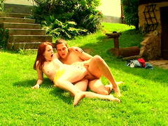 teen whore gets huge dildo outdoor