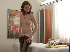 young slut in sexy pants getting hot massage